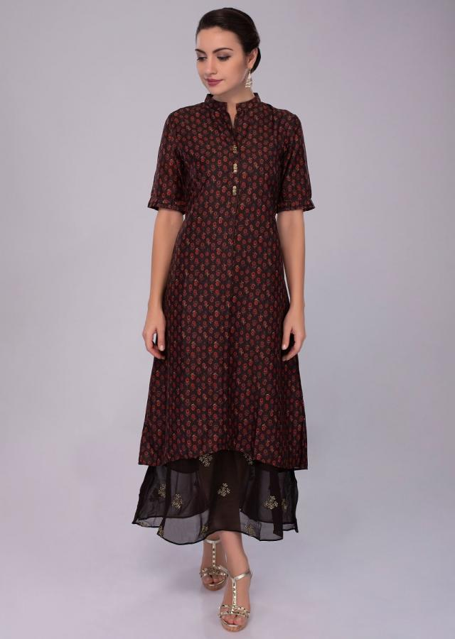 Chocolate brown cotton silk tunic dress with printed butti only on Kalki