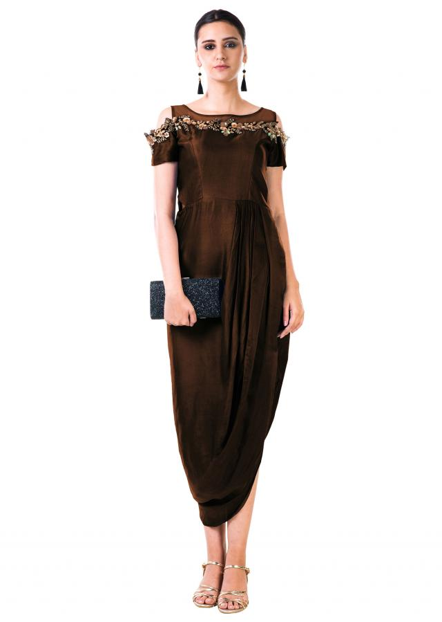Chocolate Brown Hand Embroidered Cold Shoulder Draped Gown