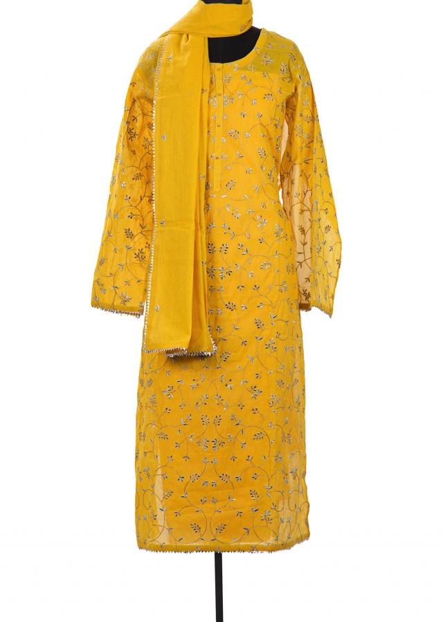 Chrome yellow semi stitched suit in zari and gotta only on Kalki