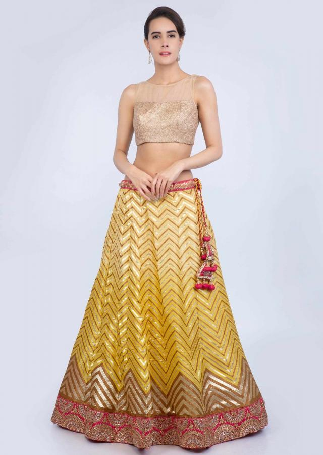 Chrome Yellow Lehenga In Weaved Cotton Silk With A Contrasting Red Brocade Silk Dupatta Online - Kalki Fashion