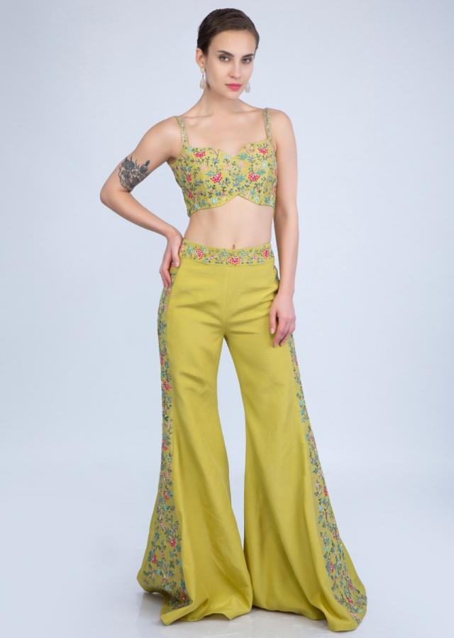 Citrus Green Flared Pant Paired With Embroidered Crop Top And Embroidered Net Peplum Jacket Online - Kalki Fashion