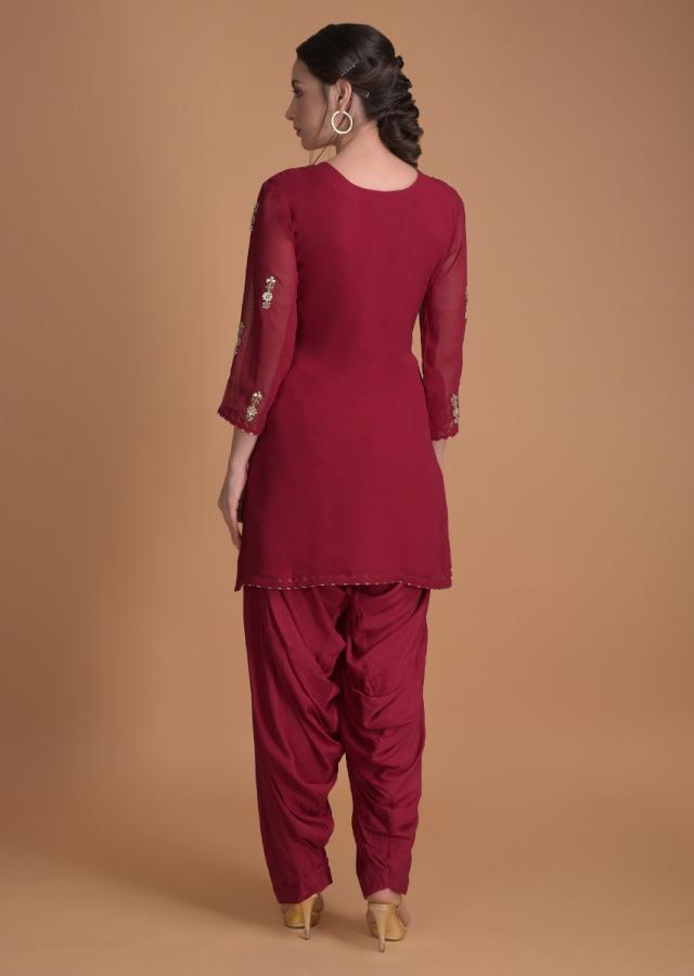 Claret Red Salwar Suit With Gotta, Zardosi, Thread And Pearls In Floral Pattern Online - Kalki Fashion