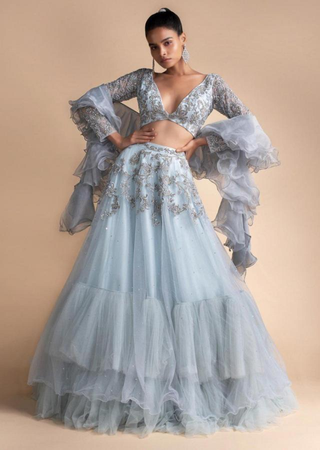 Powder Blue Lehenga Set With Embroidered Net Fabric Online - Kalki Fashion