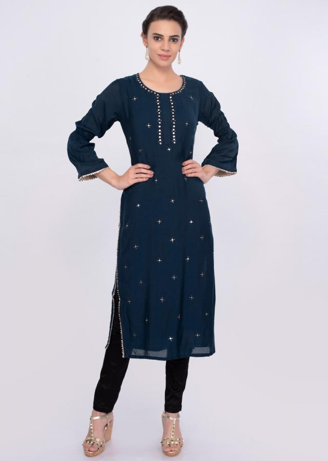 Cobalt blue cotton kurti with badla embroidery only on Kalki