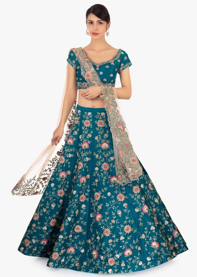 Cobalt blue raw silk lehenga set paired  with pink net dupatta only on Kalki
