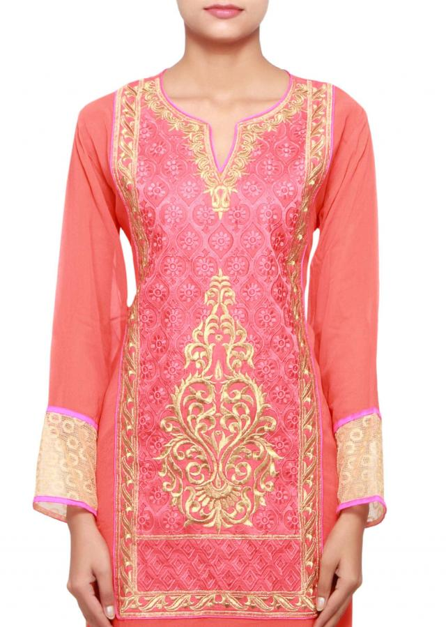 Coral a-line long kurti in georgette embellished in resham and zari only on Kalki