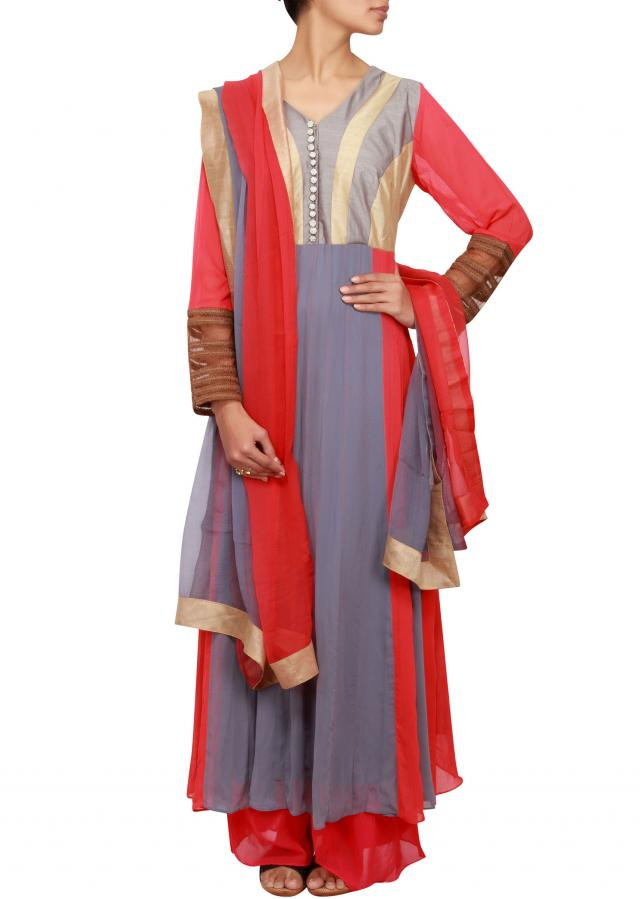 Coral and grey georgette anarkali embellished in thread only on Kalki