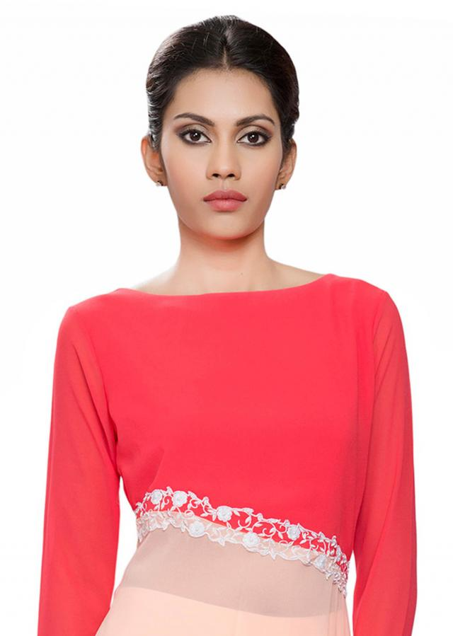 Coral and peach cross joint tunic with white embroidery