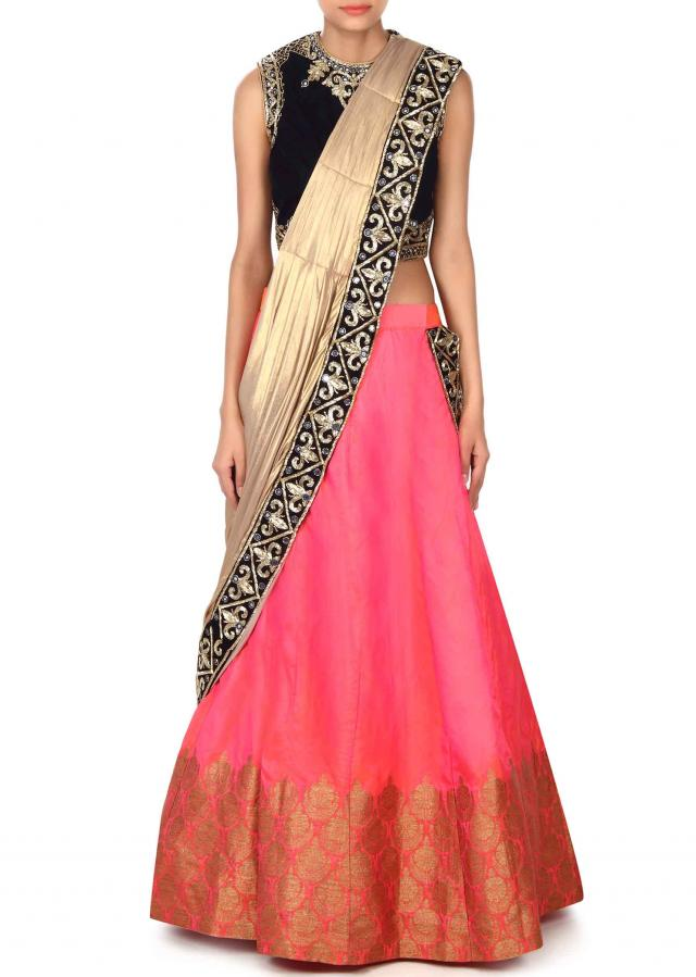 Coral and pink lehenga with attached pallav only on Kalki
