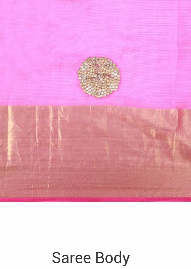 Coral and pink saree adorn in mirror work only on Kalki