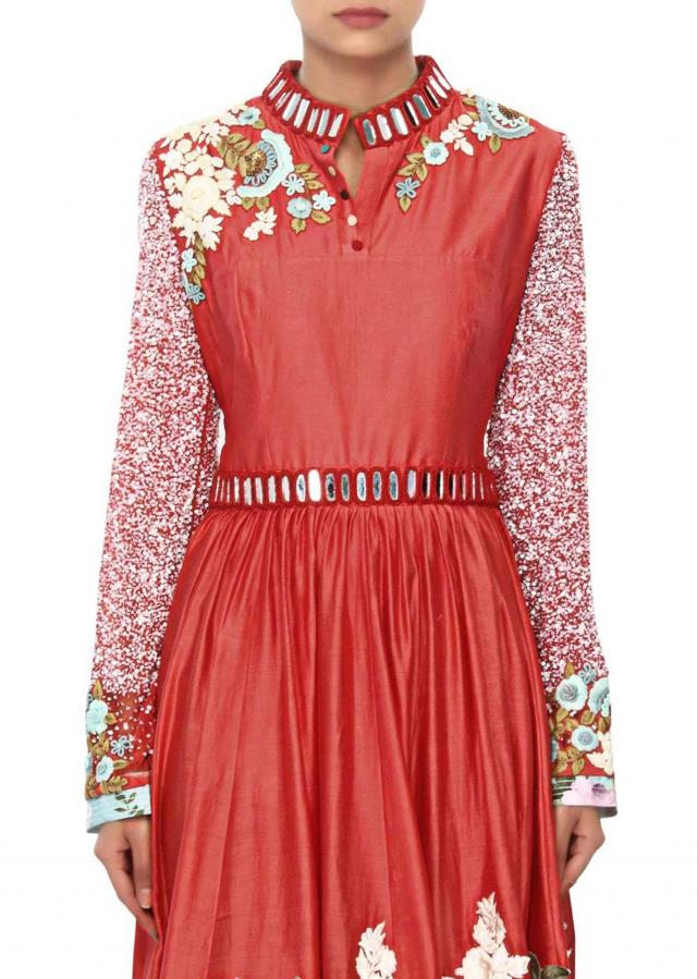 Coral dress embellished in applique and mirror embroidery only on Kalki