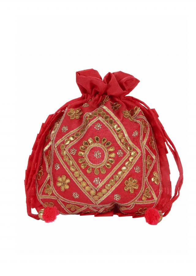 Coral gotta patch Embroidered Potli Bag only on Kalki