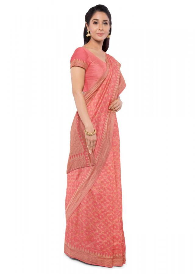 Coral Peach Banarasi Saree In Chiffon With Matching Blouse Piece Online - Kalki Fashion