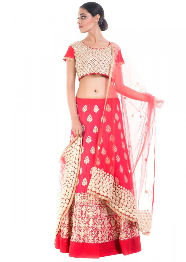 Coral Red Embroidery Bridal Lehenga