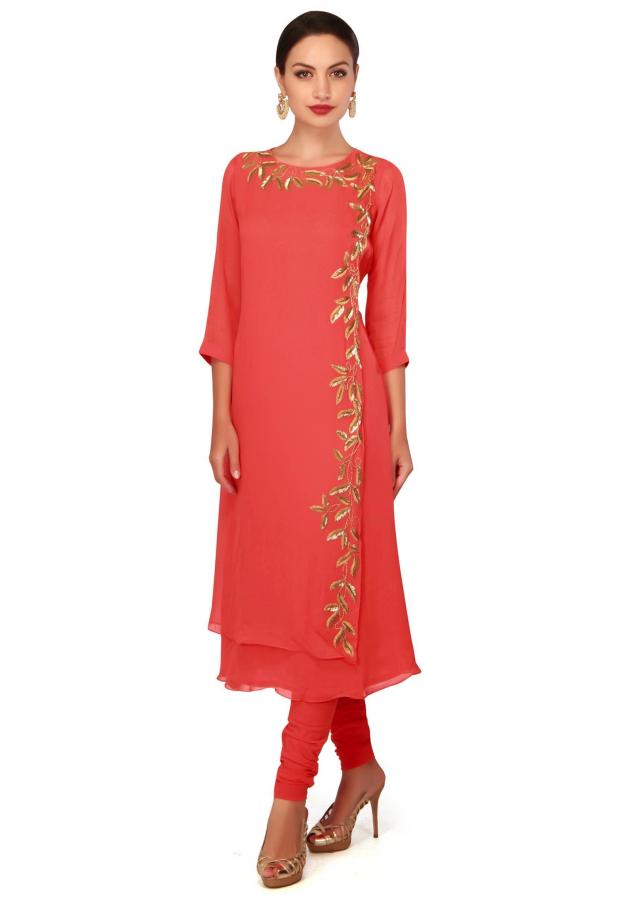 Coral straight suit adorn in kardana embroidery only on Kalki