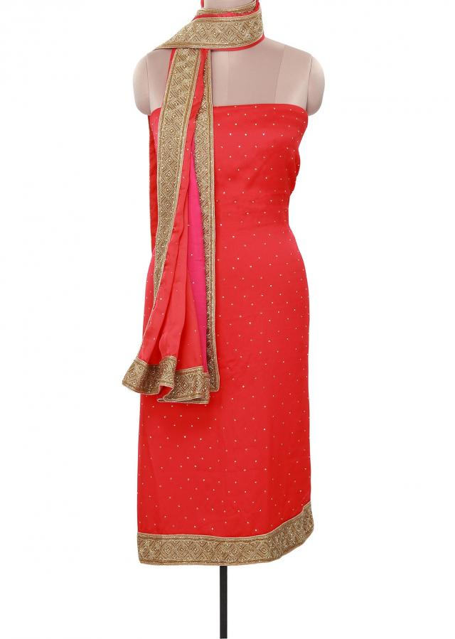 Coral unstitched suit adorn in kardana embroidery only on Kalki