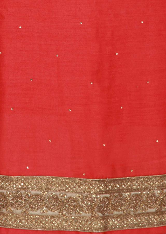 Coral unstitched suit enhanced in kundan embroidery only on Kalki
