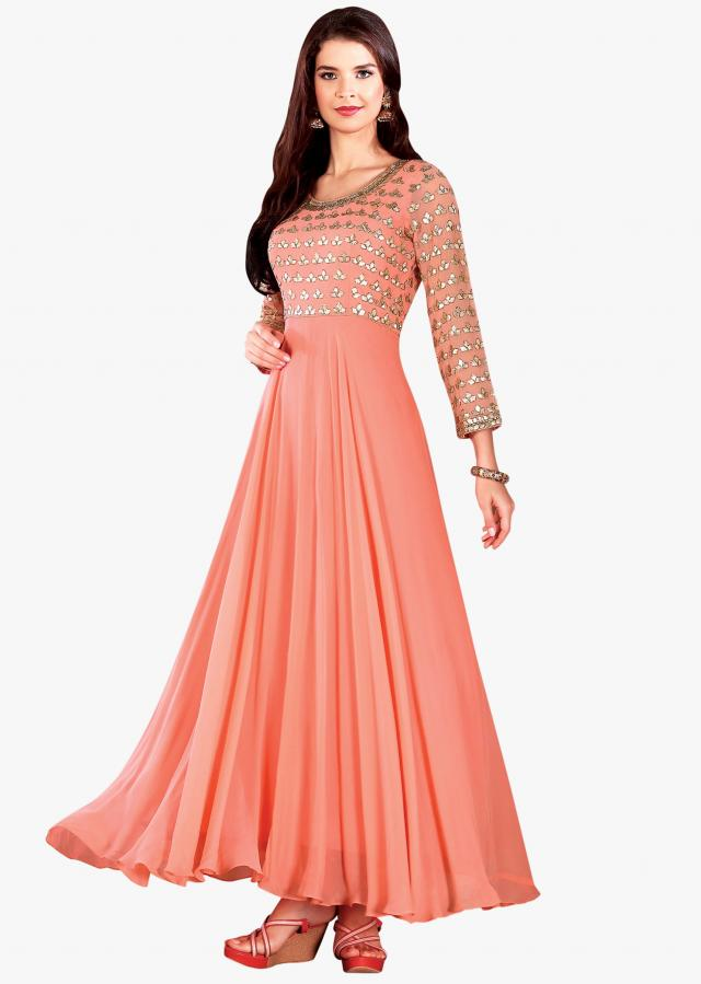 Coral anarkali suit in georgette with gotta patch embroidered bodice