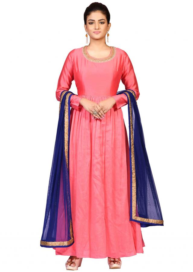 Coral suit with navy blue dupatta embellished in stone hand embroidery only on Kalki