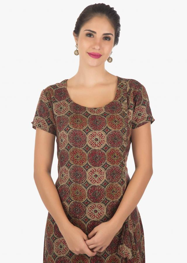 Cotton print Kurti with fancy hemline and tassel motifs only on Kalki