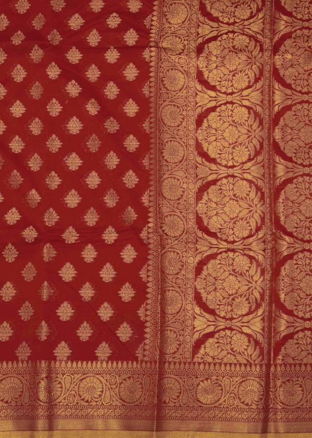 Cranberry red chanderi saree in weaved butti and jaal only on Kalki