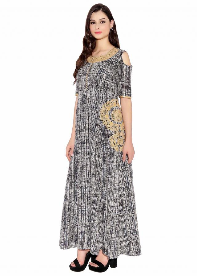 Cream & Dark Blue Cotton Kurti With Abstract Print And Heavy Thread Work On Neck And Side Waist Only On Kalki