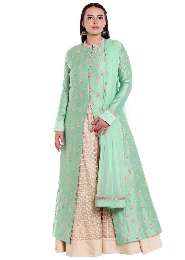 Cream A line inner with mint blue top in zari butti only on Kalki