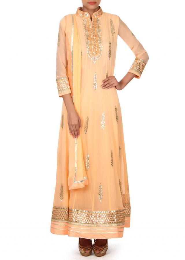Cream anarkali suit adorn in gotta patch embroidery only on Kalki
