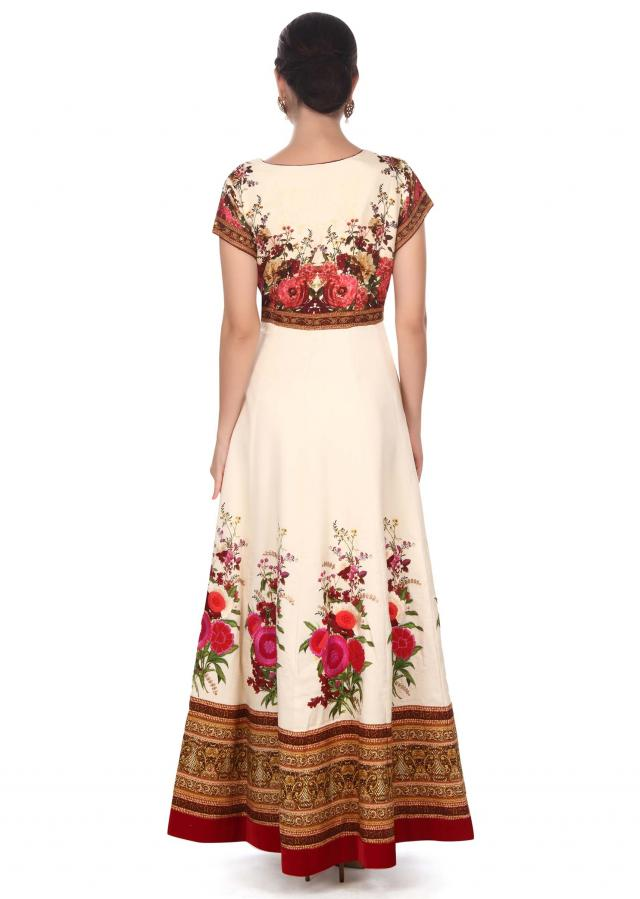 Cream anarkali suit adorn in digital print only on Kalki
