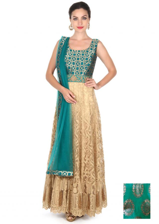 Cream anarkali suit in embroidered net only on Kalki
