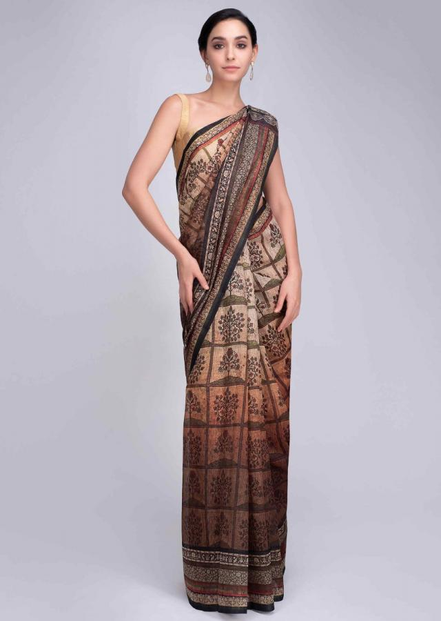 Cream and brown shaded tussar silk saree with floral digital print only on Kalki