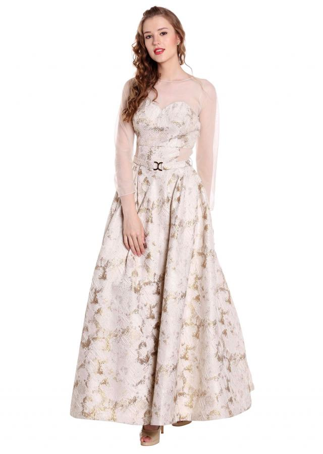 Cream and gold gown in fancy taffeta with matched belt only on Kalki