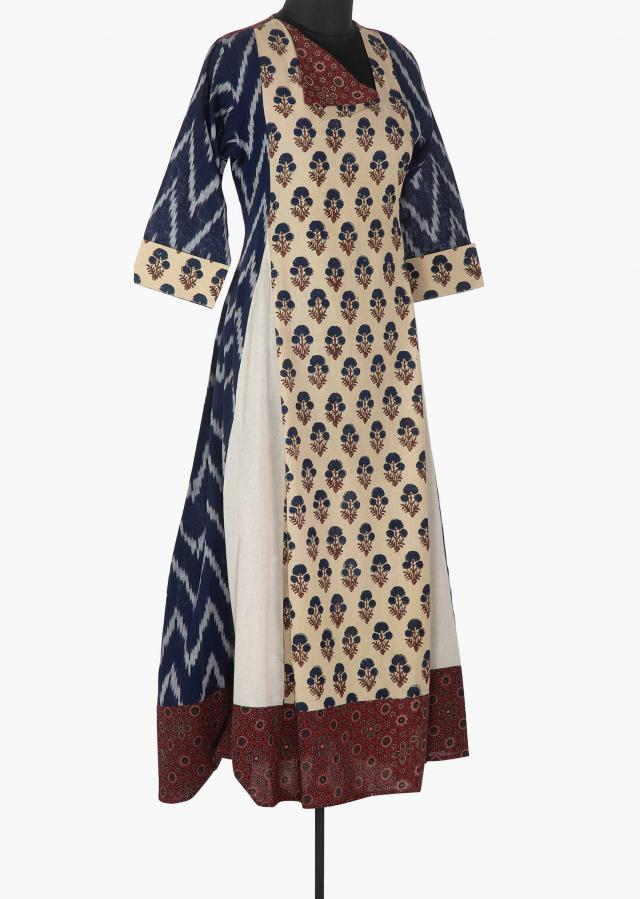 Cream and indigo blue printed kurti with fancy neckline only on Kalki