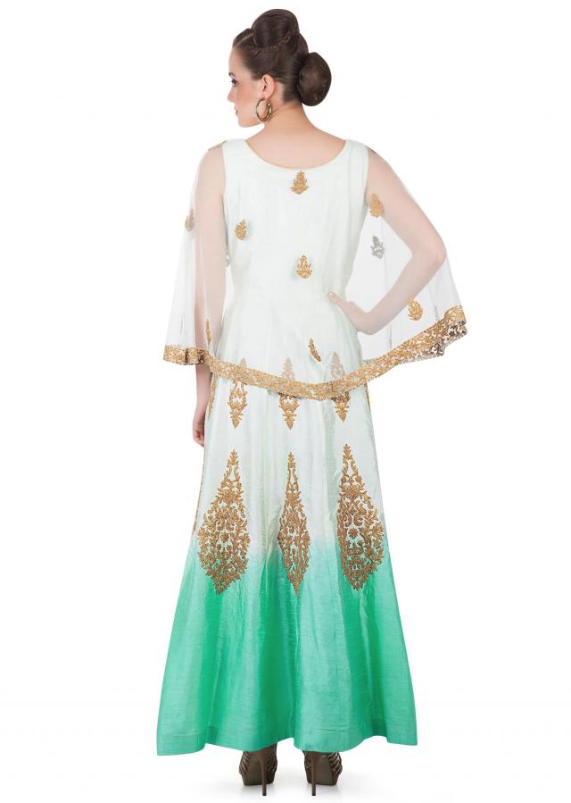 Cream and Mint Cotton Silk Gown with Net Dupatta and Cape Styled with Zari Work only on Kalki