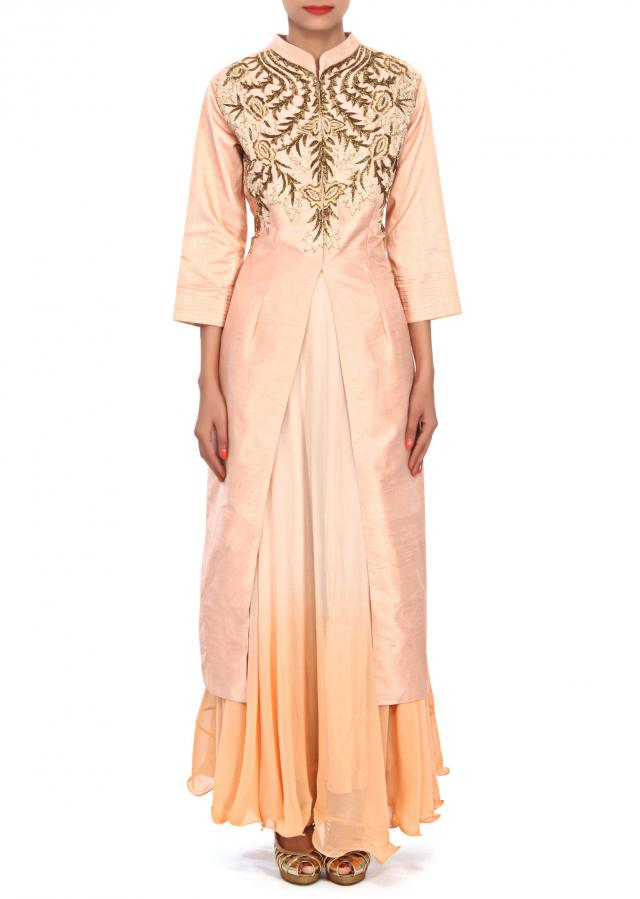 Cream and peach dress embellished in zardosi embroidery only on Kalki