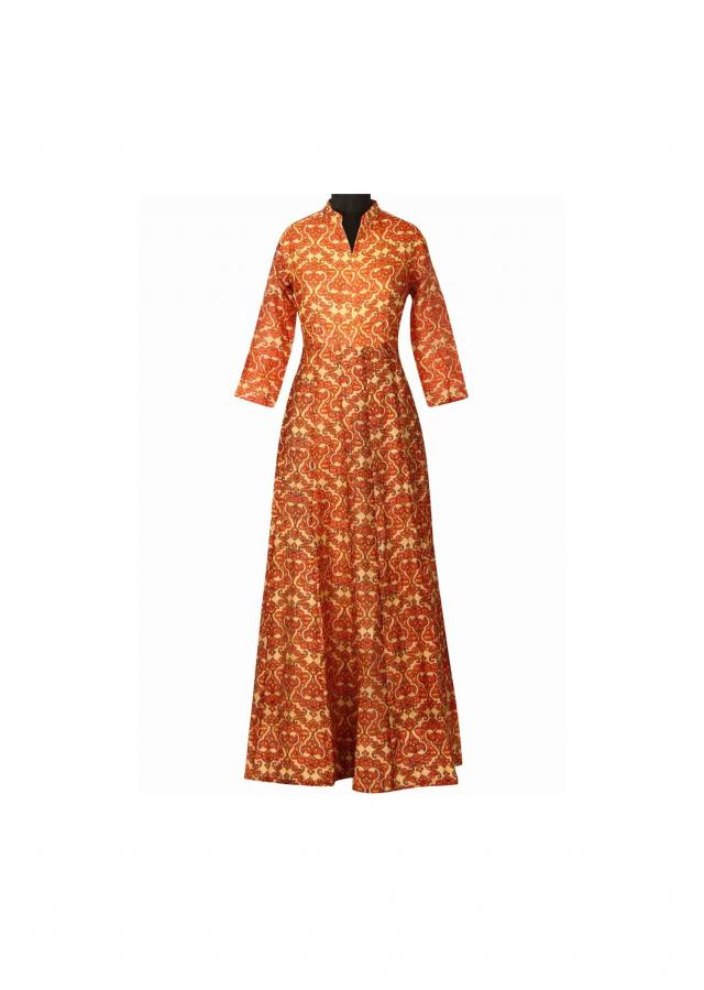 Cream and rust dress features in jall print only on Kalki