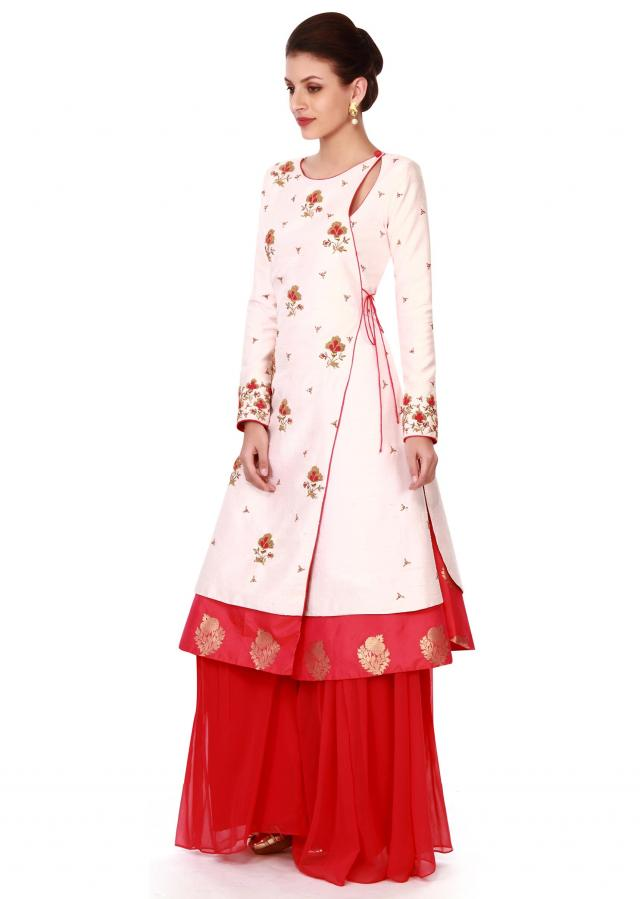 Cream angarkha suit in french knot embroidery only on Kalki