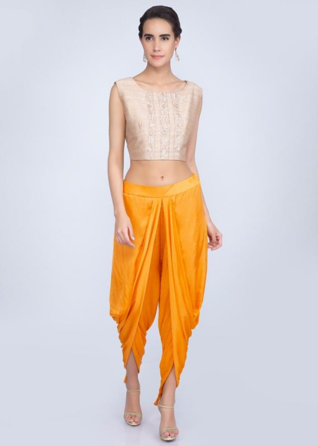 Beige Crop Top In Embroidered Raw Silk With Chrome Yellow Dhoti And Jacket Online - Kalki Fashion