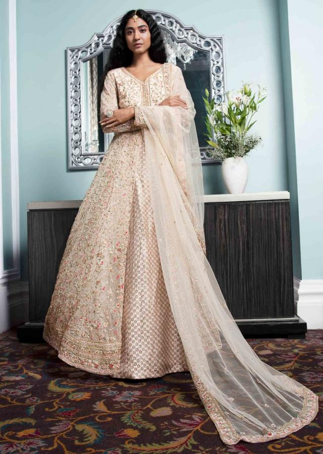 Cream Beige Jacket Lehenga In Silk And Embellished Net Online - Kalki Fashion