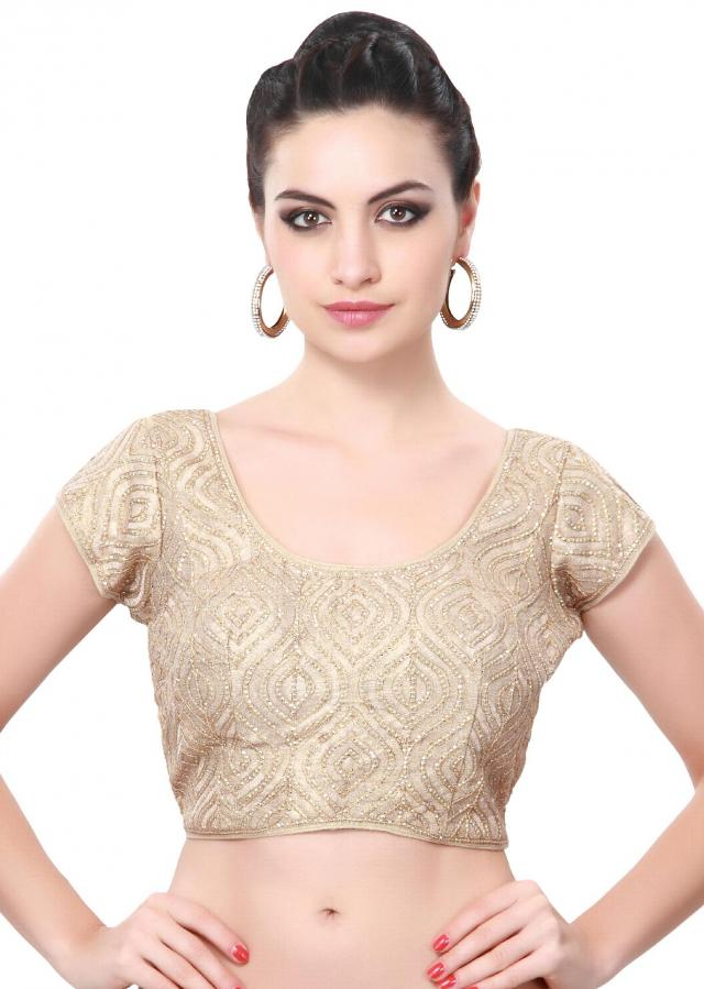 Cream blouse adorn in sequin only on Kalki