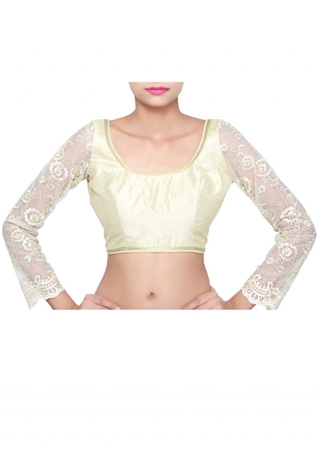 Cream blouse features with embellished sleeve only on Kalki