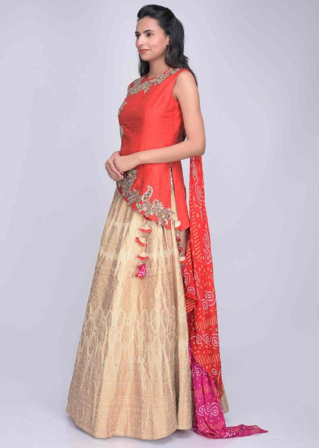 Cream Brocade Lehenga In Cotton Silk With Asymetric Blouse And Attatched Bandhej Drape Online - Kalki Fashion