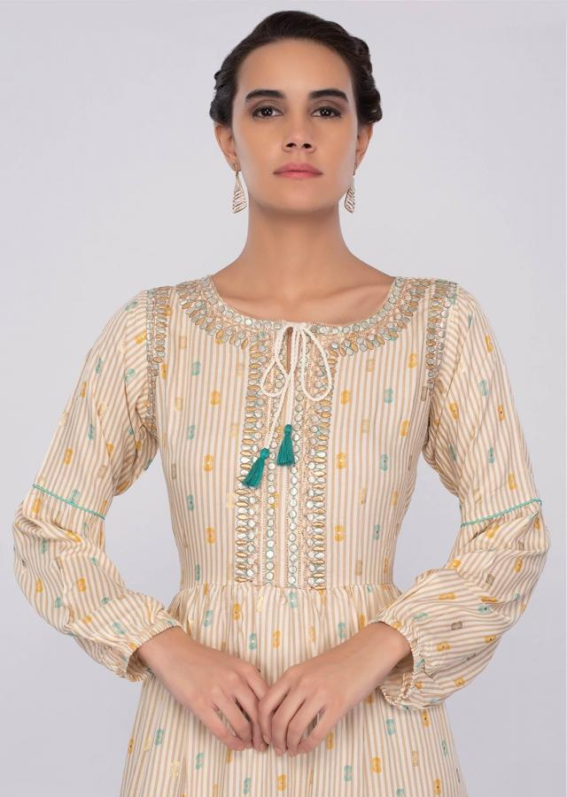 Cream cotton tunic dress with beige stripes only on kalki