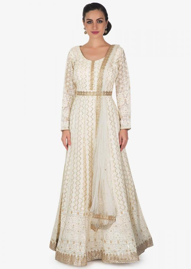 Ivory Anarkali Suit In Chiffon With Thread Work And Sequin Work Online - Kalki Fashion
