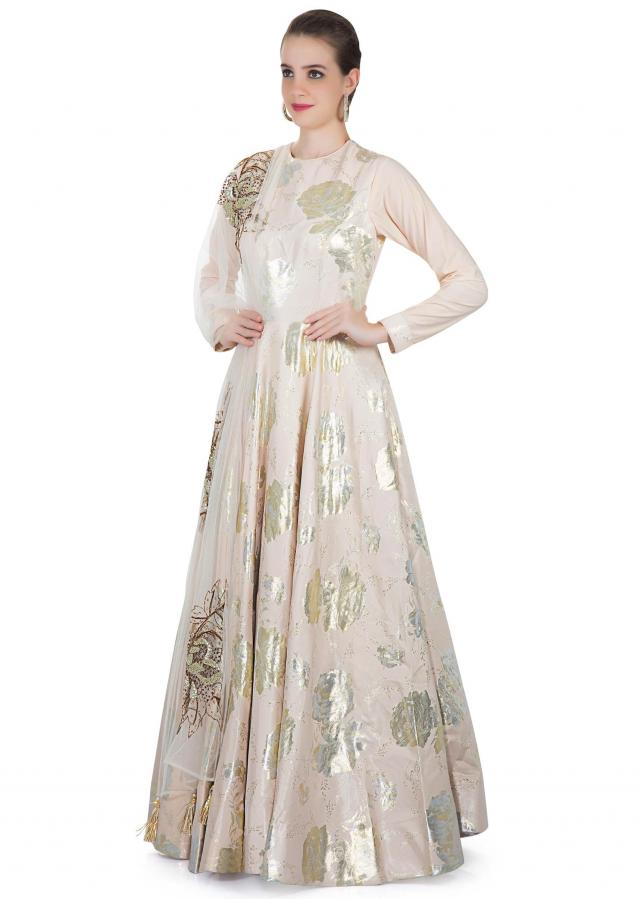 Cream Jacquard Silk Gown with Sequined Net Dupatta Only on Kalki
