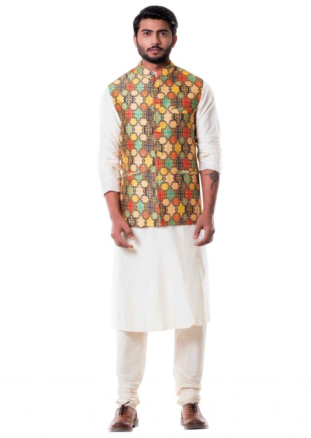 Cream Kurta with Printed Waist Coat Set.