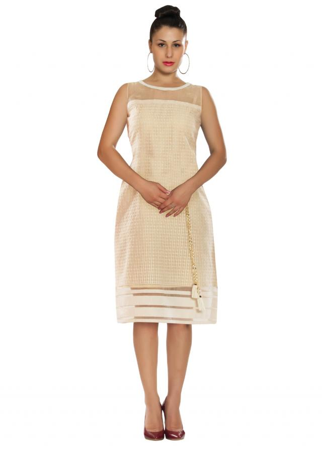 Cream kurti in tissue with embellished neckline