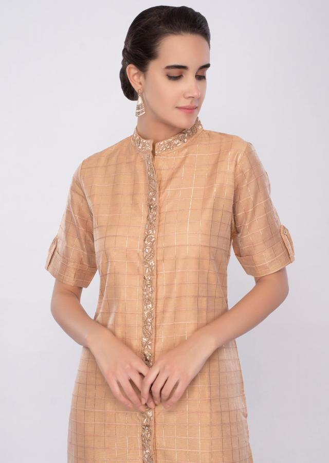 Cream latte cotton kurti with foil print and zari embroidery only on Kalki