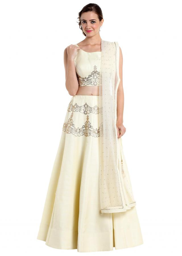 Cream lehenga choli with kundan work only on Kalki