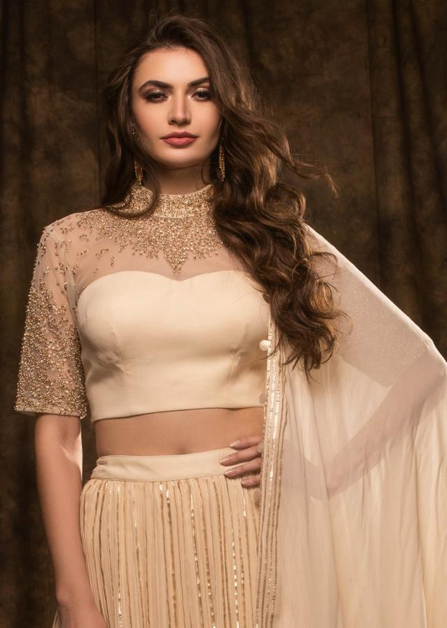 Cream Lehenga Set In Georgette With Gotta Lace Embroidery Online - Kalki Fashion